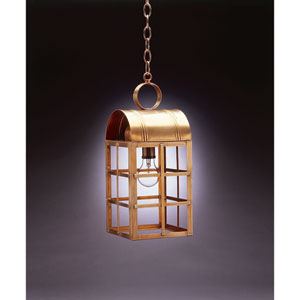 Adams Antique Brass One-Light Outdoor Pendant with Clear Glass
