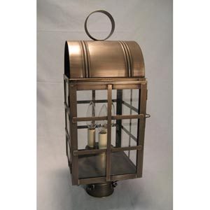 Adams Antique Brass Two-Light Outdoor Post Light with Clear Glass