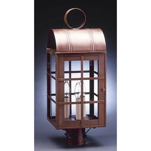 Adams Antique Copper Three-Light Outdoor Post Light with Clear Glass