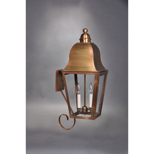 Imperial Antique Brass Two-Light Outdoor Bottom Scroll Wall Mount with Clear Glass