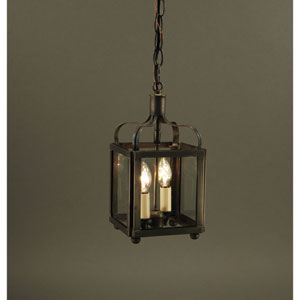 Crown Dark Brass Two-Light Chandelier with Clear Glass