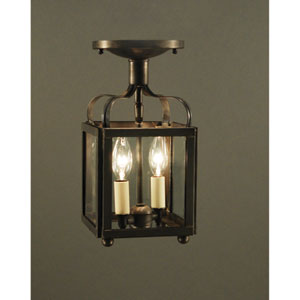 Crown Dark Brass Two-Light Semi-Flush Mount with Clear Glass