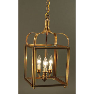 Crown Antique Brass Three-Light Chandelier with Clear Glass