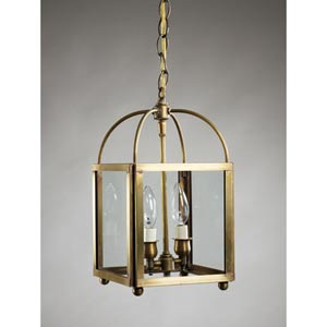 Antique Brass Two-Light Pendant with Clear Glass