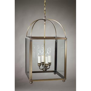 Antique Brass Four-Light Pendant with Clear Glass