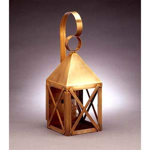 Small Antique Brass Pyramid Outdoor Wall Lantern