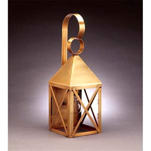 Medium Antique Brass Pyramid Outdoor Wall Lantern