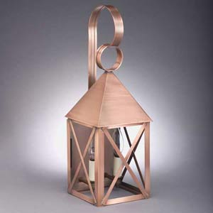 Medium Antique Copper Pyramid Two-Light Wall Lantern
