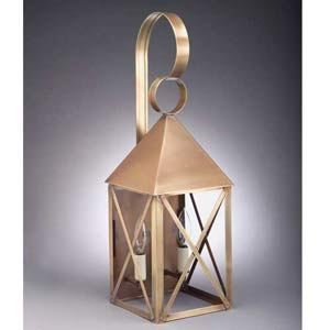 Large Antique Brass Pyramid Two-Light Wall Lantern