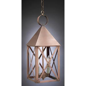 York Dark Brass Two-Light Outdoor Pendant with Clear Glass