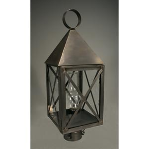 York Dark Brass One-Light Outdoor Post Light with Clear Glass