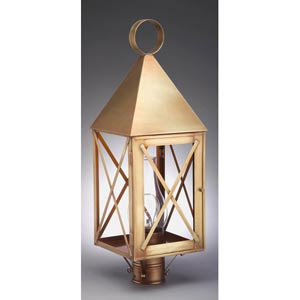York Antique Brass One-Light Outdoor Post Light with Clear Glass