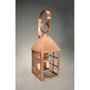 York Antique Copper Two-Light Outdoor Wall Light with Clear Glass