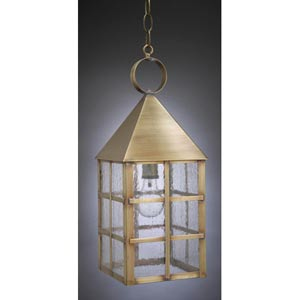 York Antique Brass One-Light Outdoor Pendant with Seedy Marine Glass
