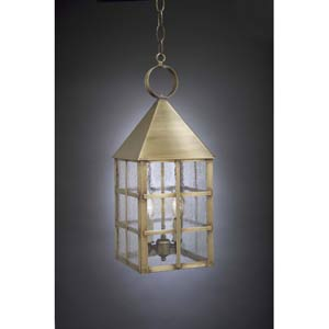 Large Antique Brass York Hanging Lantern with Seedy Marine Glass