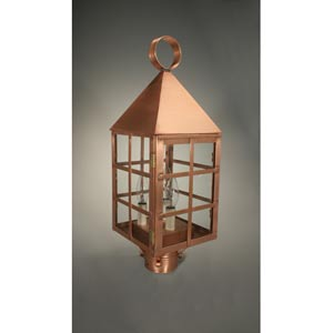 York Antique Copper Three-Light Outdoor Post Light with Clear Glass