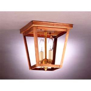 Small Antique Copper Dual-Candelabra Ceiling Lantern