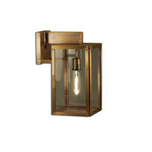 Midtown Dark Antique Brass One-Light Outdoor Wall Mount with Clear Glass
