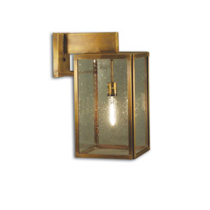 Midtown Dark Antique Brass One-Light Outdoor Wall Mount with Clear Seedy Glass