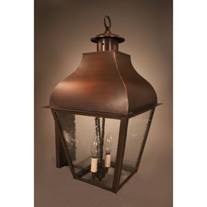 Stanfield Antique Copper Two-Light Outdoor Wall Light with Clear Seedy Glass