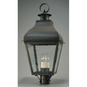 Stanfield Dark Brass Three-Light Outdoor Post Light with Clear Seedy Glass