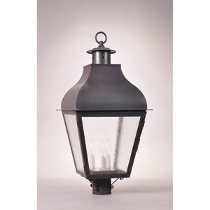Stanfield Dark Brass Three-Light Outdoor Post Mount with Seedy Marine Glass
