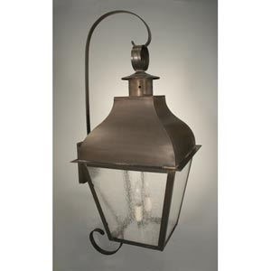 Stanfield Dark Antique Brass Two-Light Outdoor Wall Light with Seedy Marine Glass