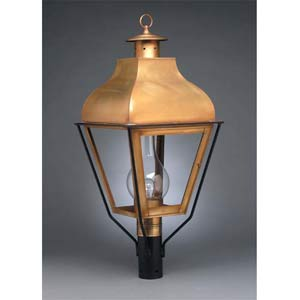 Large Antique Brass Stanfield Post-Mount Lantern