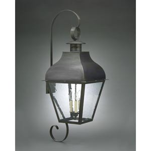 Stanfield Dark Brass Three-Light Outdoor Wall Light with Clear Seedy Glass