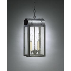 Livery Dark Brass Two-Light Outdoor Pendant with Seedy Marine Glass