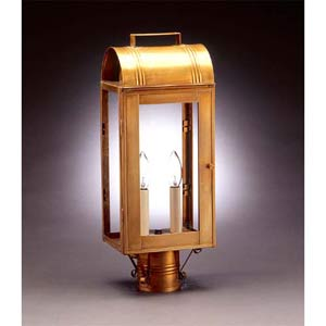 Antique Brass Livery Two-Light Post-Mount Lantern