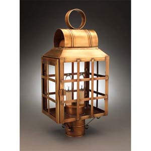 Medium Antique Brass Woodcliff Post-Mount Lantern