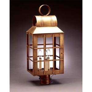 Large Antique Brass Clear Woodcliff Post-Mount Lantern