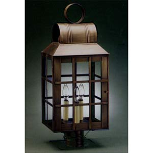 Large Dark Brass Woodcliff Post-Mount Lantern