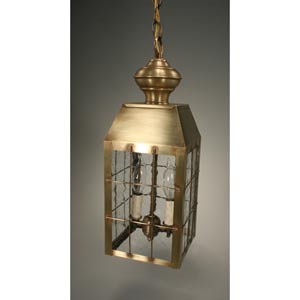 Woodcliffe Antique Brass Two-Light Outdoor Pendant with Clear Seedy Glass