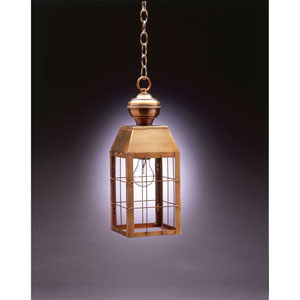 Woodcliffe Antique Brass One-Light Outdoor Pendant with Clear Glass