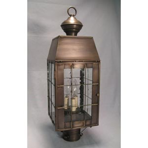 Woodcliffe Antique Copper Three-Light Outdoor Post Light with Clear Seedy Glass