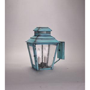 Elryan Verdi Gris Two-Light Outdoor Wall Mount with Seedy Marine Glass