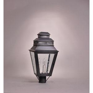 Elryan Dark Brass Three-Light Outdoor Post Mount with Clear Seedy Glass