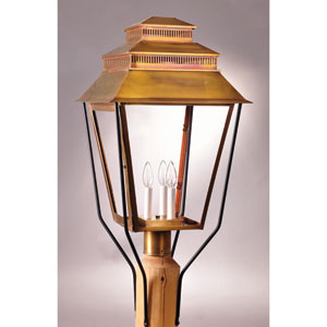 Elryan Antique Brass Three-Light Outdoor Post Mount with Clear Glass
