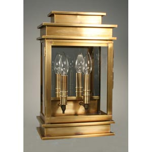 Empire Dark Antique Brass Two-Light Outdoor Wall Light with Clear Glass