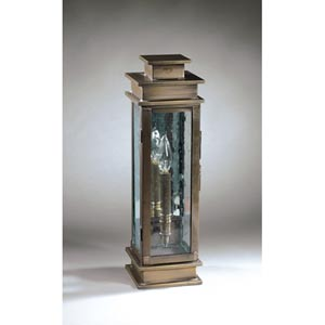 Empire Dark Antique Brass One-Light Outdoor Wall Light with Clear Seedy Glass and Antique Mirror