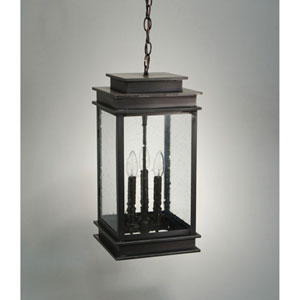 Empire Dark Brass Three-Light Outdoor Pendant with Clear Seedy Glass