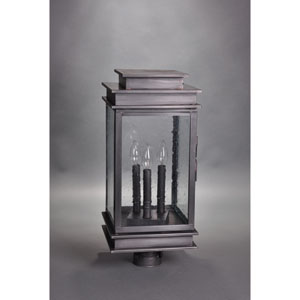 Empire Dark Brass Three-Light Outdoor Post Mount with Clear Seedy Glass