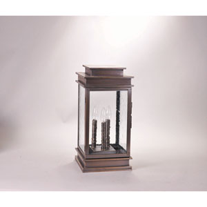 Empire Antique Brass Three-Light Nine-Inch Outdoor Pier Mount with Clear Seedy Glass