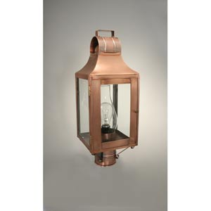 Livery Antique Copper One-Light Outdoor Post Light with Clear Glass