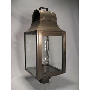 Livery Dark Antique Brass One-Light Outdoor Post Light with Clear Seedy Glass
