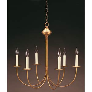 Antique Brass Six-Light, J-Arm Chandelier