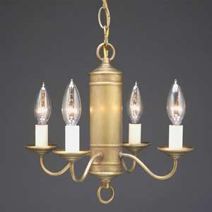 Antique Brass Four-Light Tube Center Mini Chandelier