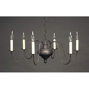 Dark Brass Six-Light Colonial Chandelier